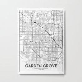 Minimal City Maps - Map Of Garden Grove, California, United States Metal Print