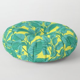 Exotic Tropical Palm Leaf Print - Lime Floor Pillow