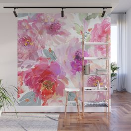Big Watercolor Flowers in Violet and Pink Wall Mural
