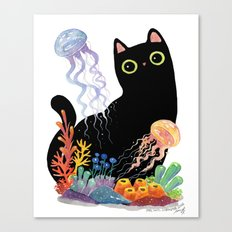 the Aquarium Cat _ Jellyfish Canvas Print