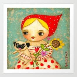 Sunflower Springtime Pug and Babushka by Tascha Art Print