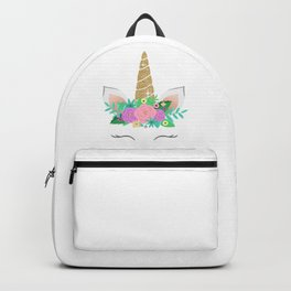 Golden Unicorn with Flowers Backpack