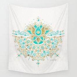 Sacred Lotus Mandala – Turquoise & Gold Palette Wall Tapestry