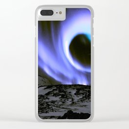 Aurora Borealis Mountains Periwinkle Lavender Clear iPhone Case