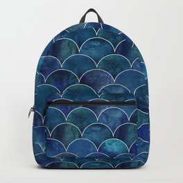 Navy Blue Beautiful Art Deco Marble Shimmer Mermaid Scales Gold Trim Seamless Pattern Backpack