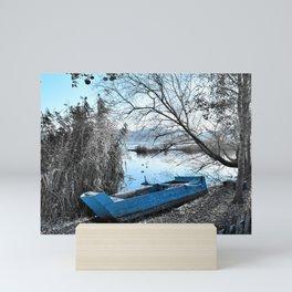 Blue boat Mini Art Print