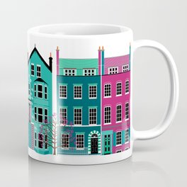 London Row Houses in Purple and Teal Coffee Mug