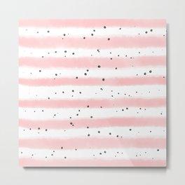 Modern blush pink black watercolor splatters stripes Metal Print