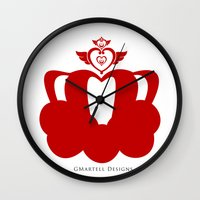 martell Wall Clocks featuring Sailor Moon Inspired Crown Red by G Martell