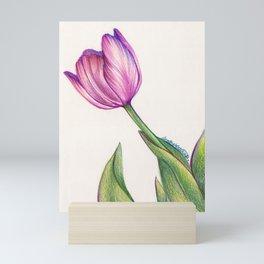 Purple Tulip in Colored Pencil Mini Art Print