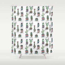 Cactus and Succulent Pattern Shower Curtain