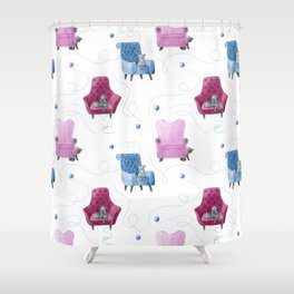 Cats & Comfy Chairs Pattern - Blue Yarn Shower Curtain
