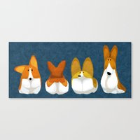 corgi Canvas Prints featuring Corgi by Melissa van der Paardt
