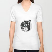 gray V-neck T-shirts featuring Gray wolf by Roland Banrevi