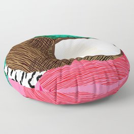 Bada Bing - memphis throwback tropical coconuts food vegan nature abstract illo neon 1980s 80s style Floor Pillow