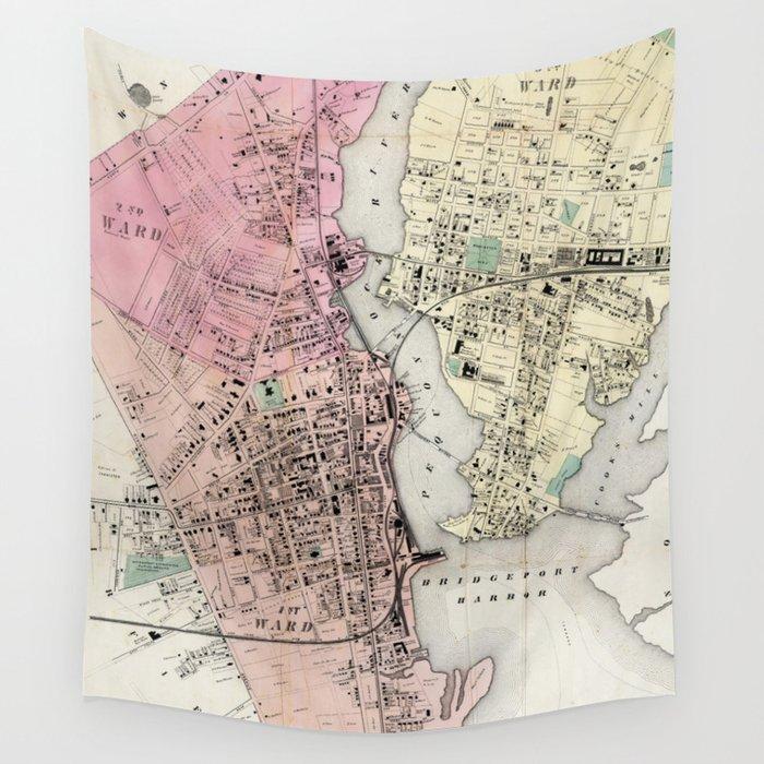 Vintage Map of Bridgeport CT (1867) Wall Tapestry by bravuramedia ...