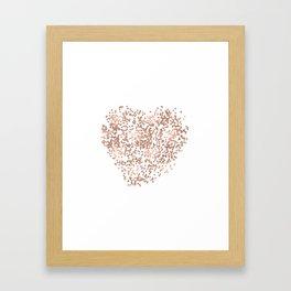Rose Gold Glam Confetti Heart Framed Art Print