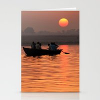 rowing Stationery Cards featuring Rowing Boat on the Ganges at Sunrise by Serenity Photography