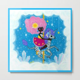 Sunshine and Sparkles -Crystal Cloud Carousel Metal Print