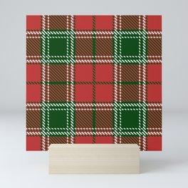 Red and Green Christmas Gingham Plaid Mini Art Print