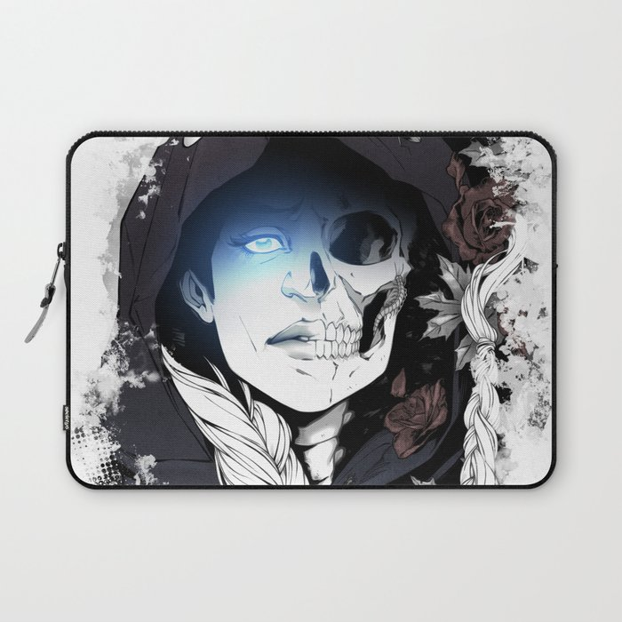 Watcher on the Bridge, witch illustration with skull and roses Laptop Sleeve