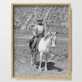 Teddy Roosevelt On Horseback Hunting - Colorado Circa 1905  Serving Tray