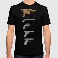 A long time ago with a blaster far, far away... Black Mens Fitted Tee X-LARGE