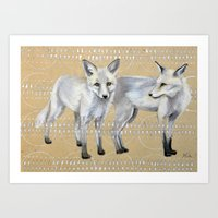 foxes Art Prints featuring foxes by Ashley White Jacobsen