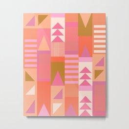 Pink and Orange Colorful Geometric Pattern Graphic Design Metal Print