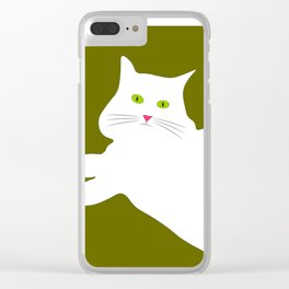 White cat on the green grass Clear iPhone Case