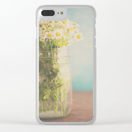 A mason jar full of pretty flowers. Clear iPhone Case