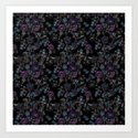 Floral pattern on a black background . Blue and purple flowers . by fuzzyfox85