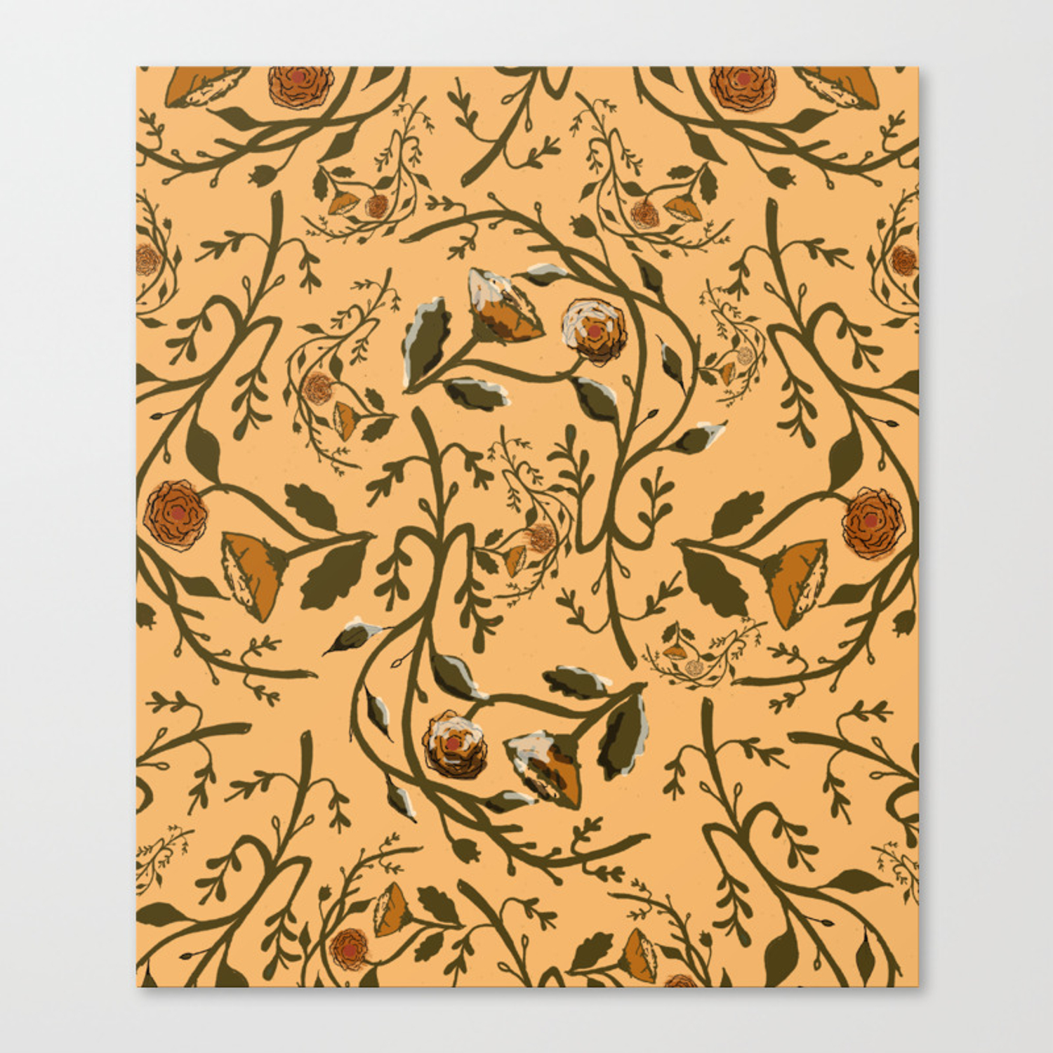 Antique Floral Wallpaper Canvas Print By Missysuehanson Society6