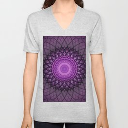 Purple and pink mandala Unisex V-Neck