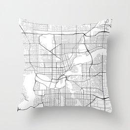 Edmonton Map, Canada - Black and White Throw Pillow