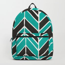 Intermittent Herringbone – Turquoise & Grey Backpack