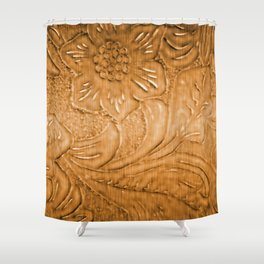 Golden Tan Tooled Leather Shower Curtain