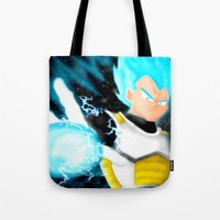 vegeta Tote Bags featuring SSGSS Vegeta by AmaterasuVG