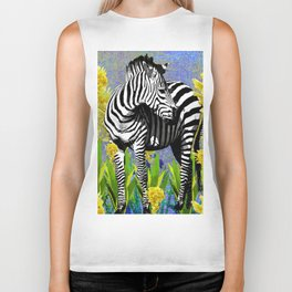 ZEBRA YELLOW ORCHIDS TROPICAL BLOOM Biker Tank