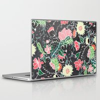 preppy Laptop & iPad Skins featuring Pastel preppy hand drawn garden flowers chalkboard by Girly Trend