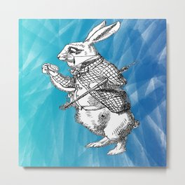 White Rabbit from Alice in Wonderland in Blue Watercolor Background Metal Print