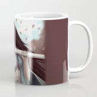 sword Mugs featuring White Sword by Eva Worl Art