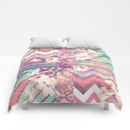 Retro Pink Turquoise Floral Stripe Chevron Pattern Comforters