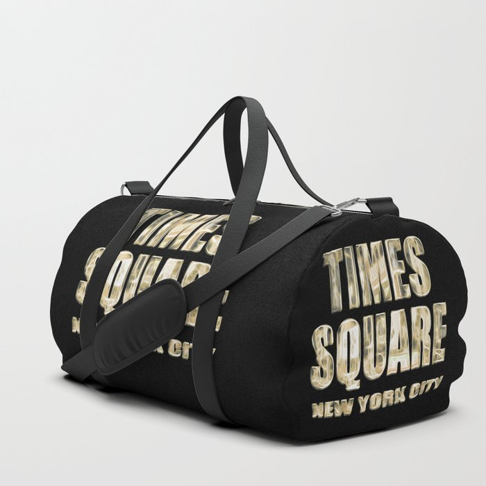 Times Square New York City (golden glow on black) Duffle Bag