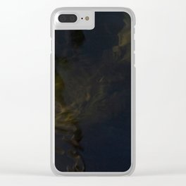 Water surface reflects the wooden pole together with surfacing algae. Clear iPhone Case