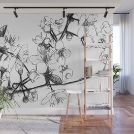 Cherry Blossoms Minimal Drawing Wall Mural