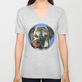 Baron the Boxer Dog Portrait Unisex V-Neck