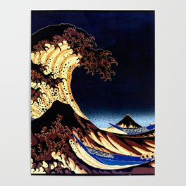 The GREAT Wave Midnight Blue Brown Poster