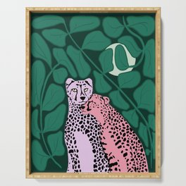 Pink and Purple Jungle Cats in the Moonlight Serving Tray