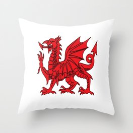 The Red Dragon or Y Ddraig Goch Isolated Throw Pillow
